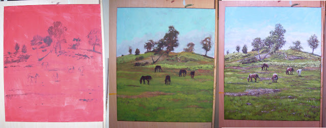 acrylic painting of horses on hill