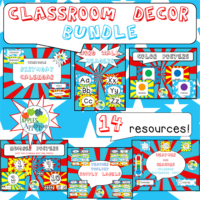 This comic book theme classroom decor is fun for all ages without being too cutesy. | Apples to Applique