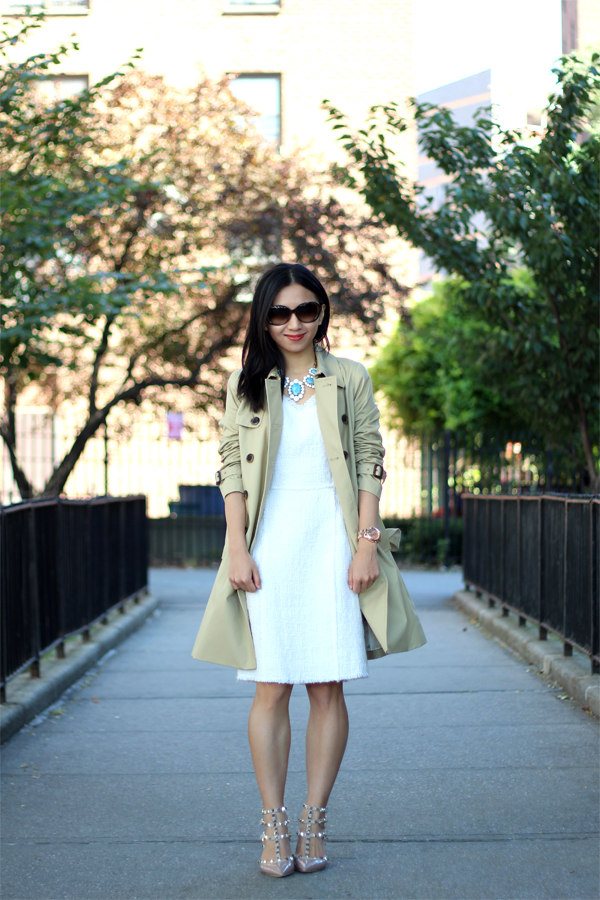 Tweed Dress and Trench Coat (Featuring Rebecca Taylor Tweed V-Neck Shift Dress)