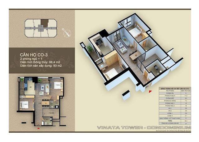 Thiết kế căn hộ 03 chung cư Vinata Towers