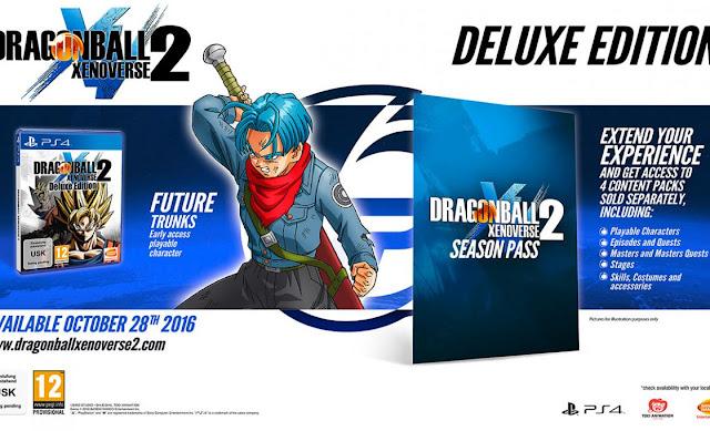 Deluxe Edition obterão o jogo e o passe de temporada, que contará com quatro expansões que incluirão novos personagens, episódios, missões, cenários, habilidades e acessórios, além de dar acesso antecipado ao personagem de Future Trunks de Dragon Ball Super.