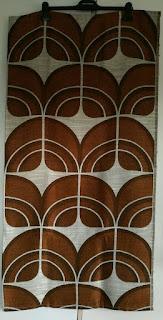 Original 70er Jahre Stoff *Panton- Ära *Braun Beige *Bogenmuster *1,20 x 1,10 m
