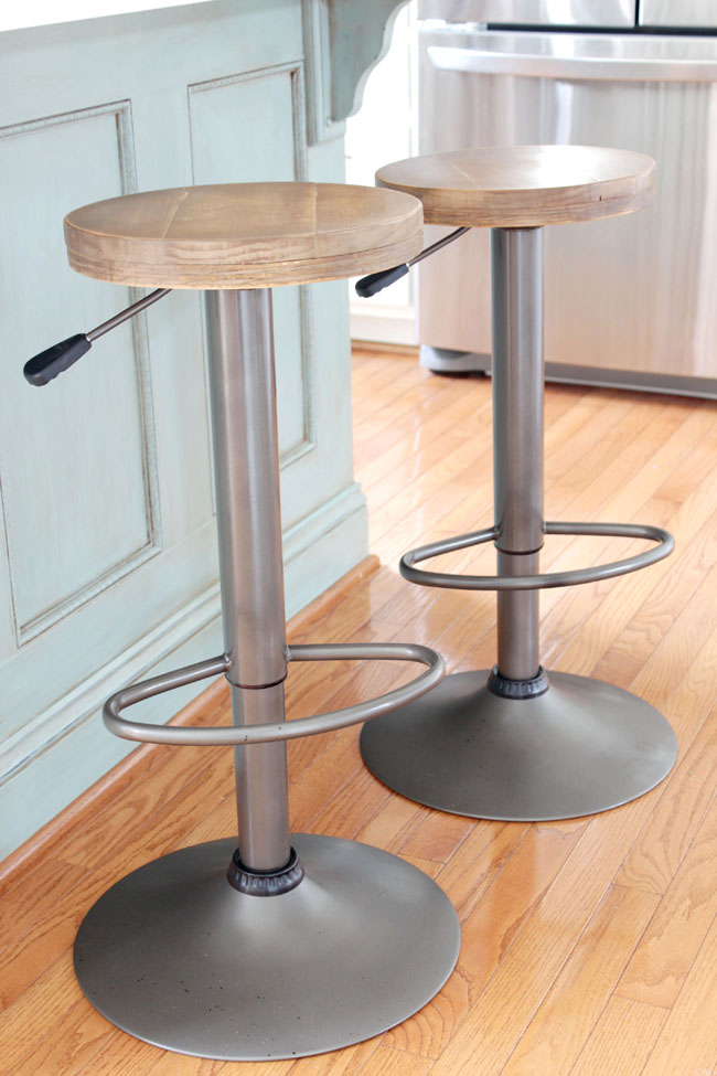 DIY Makeover bar stools from modern to rustic industrial