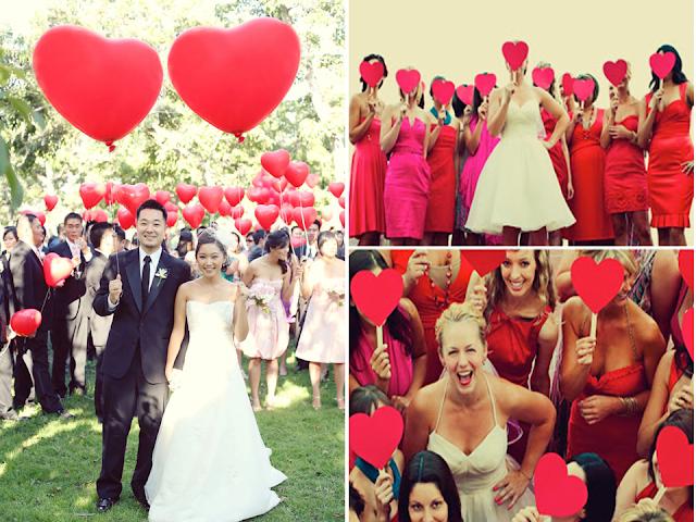 decoração de casamento com coração