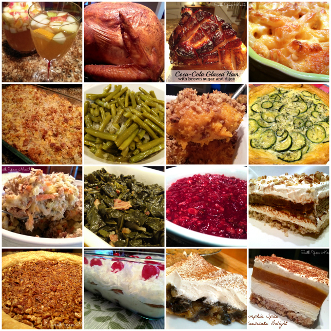 16 scratch-made Thanksgiving recipes including Jive Turkey, Cola-Cola Glazed Ham, Baked Macaroni & Cheese, Mama's Cornbread Dressing, Southern Style Green Beans, Sweet Potato Praline Casserole, Zucchini Pie, Squash Casserole, Collard Greens, Holiday Cranberry Salad, Chocolate Delight, Pecan Pie, Italian Bakeless Cake, Sour Cream & Raisin Pie and Pumpkin Spice Cheesecake Delight.
