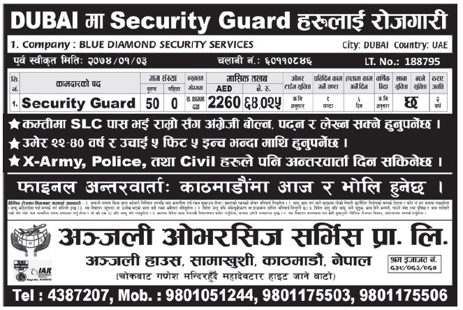 Jobs in Dubai for Nepali, Salary Rs 64,025