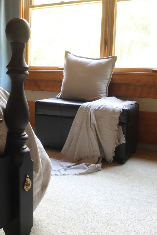Log Cabin Bedroom with Highline Bedding Co Throw
