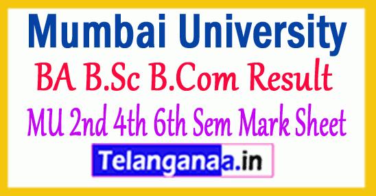 Mumbai University BA B.Sc B.Com Result 2018 MU 2nd 4th 6th Sem Mark Sheet