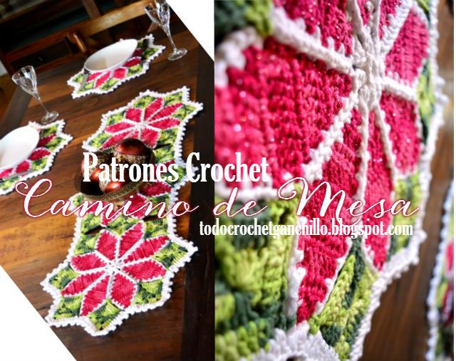 Camino de mesa crochet muy colorido para Navidad