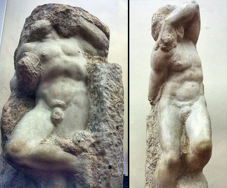 Michelangelo's 'Captives': L to R: 'Awakening Slave,' 'Young Slave.' Photo: Courtesy of Accademia.org. Unauthorized use is prohibited.