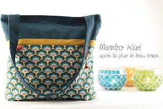 Sac cabas en lin turquoise tissu rétro fleurs