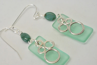 Light Green Geometric Earrings by BayMoonDesign