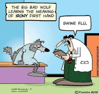 flu jokes, flu humor, doctor humor, big bad wolf, flu comic