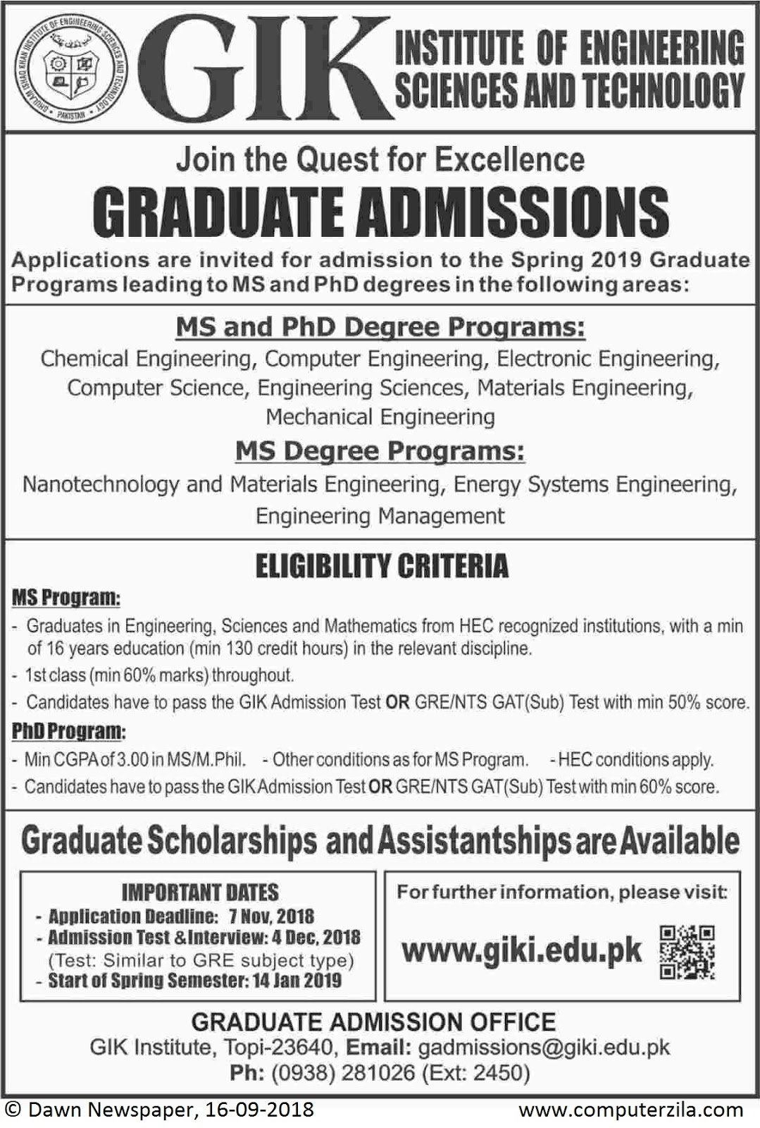 Admissions Open For Spring 2019 At GIKI Khybar Pakhtunkhwa Campus
