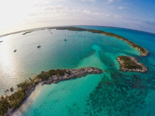Drone aerial of sailboats at Redshanks anchorage, Exumas, Bahamas