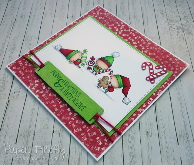 Colourful Christmas card using Stamping Bella Littles Elves with treats