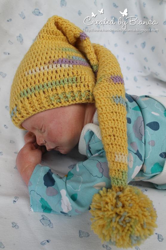 Handmade by Bianca: Baby-Zipfelmütze gehäkelt
