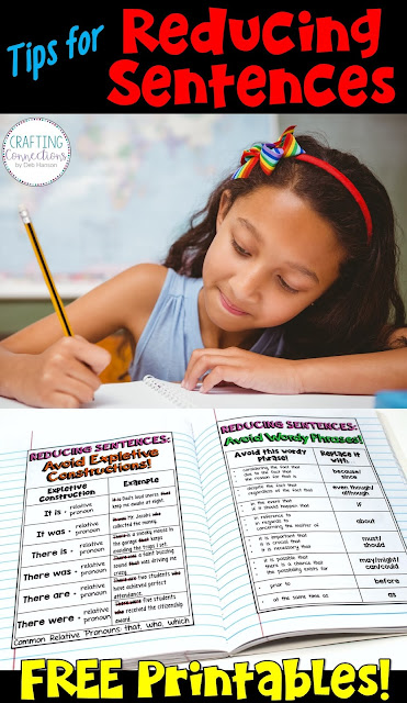 Writers in the upper elementary and middle school grades need to know how to expand, combine, and reduce sentences. This blog post features tips you can use when teaching your students how to reduce sentences. Two free personal anchor charts are included!