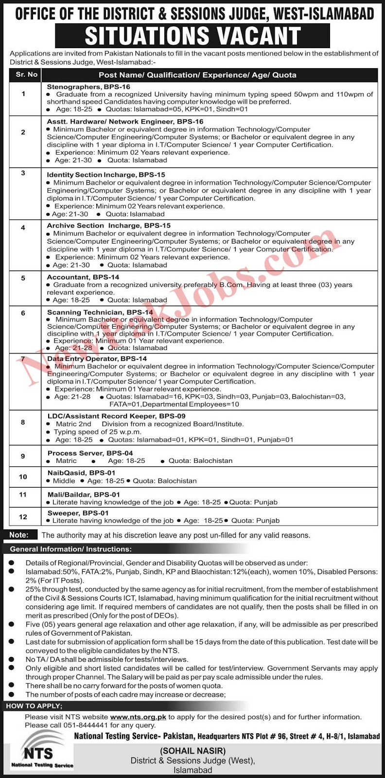 NTS Jobs in District and Session judge 13 Jan 2019