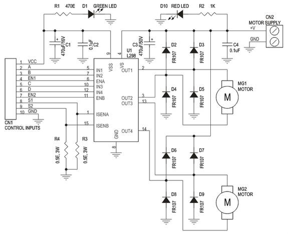 Circuit Schematic Dual Motor L298 H-Bridge Control
