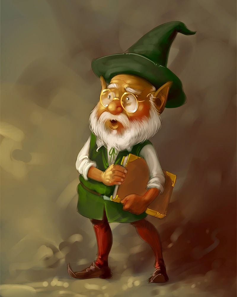 norway fairy tale funny elf digital painting illustration