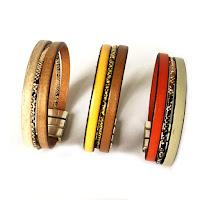 Bracelet cuir fermoir plaqué argent