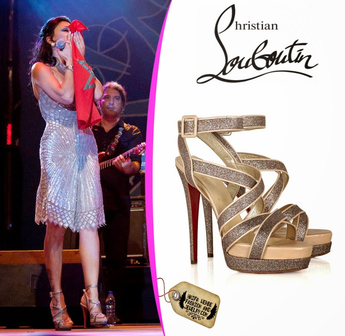 9462baca5904e Haifa Wehbe Wearing Straratata Glitter Platform Sandals by Christian  Louboutin