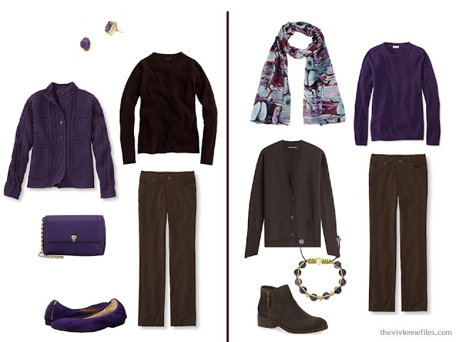 Capsule wardrobe colour palette inspiration - a pinch of plum with brown