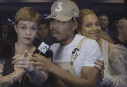 Reacción de Chance The Rapper cuando Beyoncé interrumpió su entrevista.