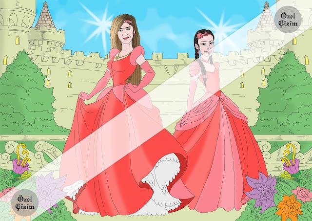 illustrasyon, resim çizimi,anne kız,anne kız resim çizimi,portre çizimi, çerçeveletmek için resim,masal prensesleri,prenses çizimi, özel çizim, kişiye özel, Resim Çizdir,