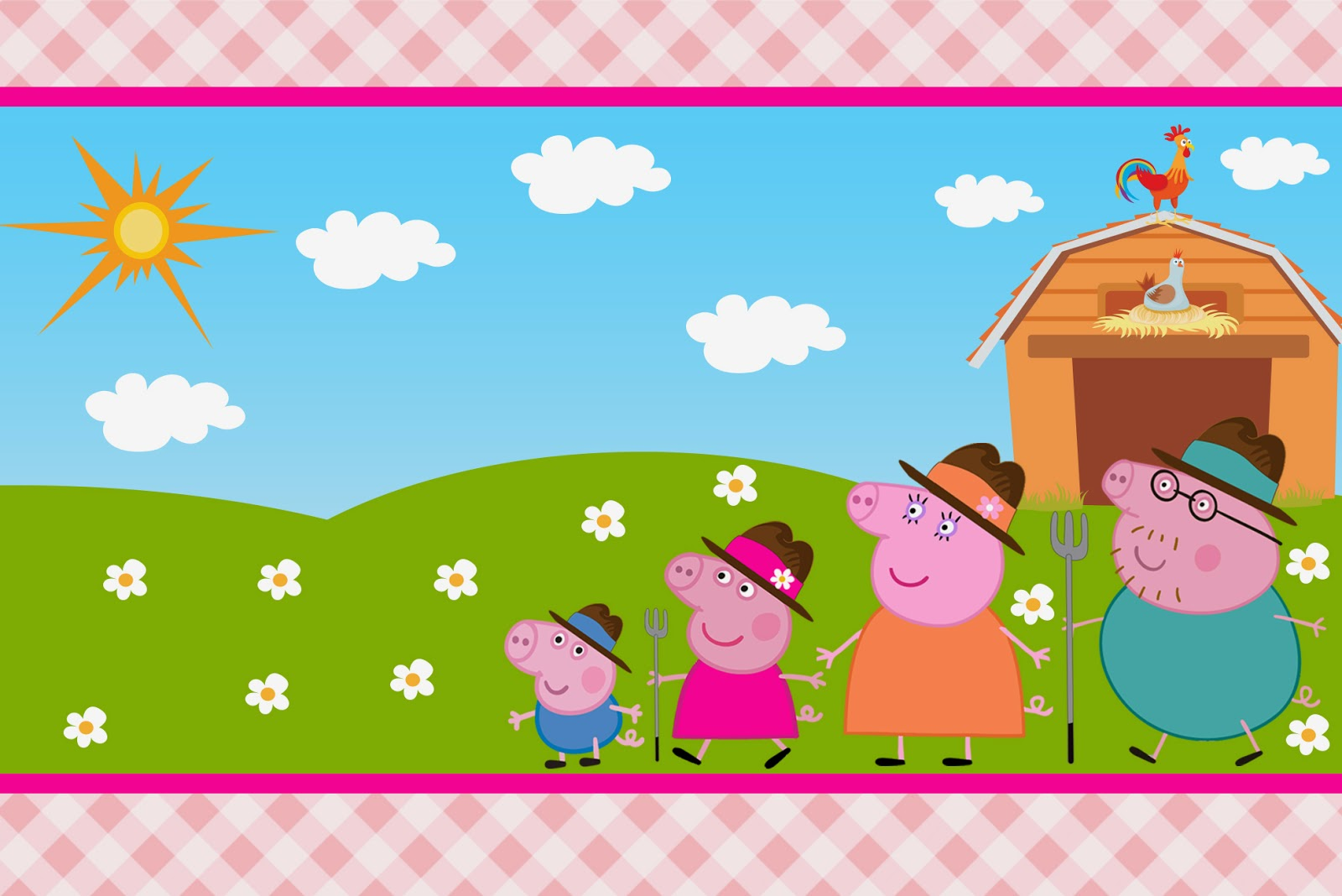 photograph about Peppa Pig Character Free Printable Images called Peppa Pig at the Farm: Absolutely free Printable Invites. - Oh My