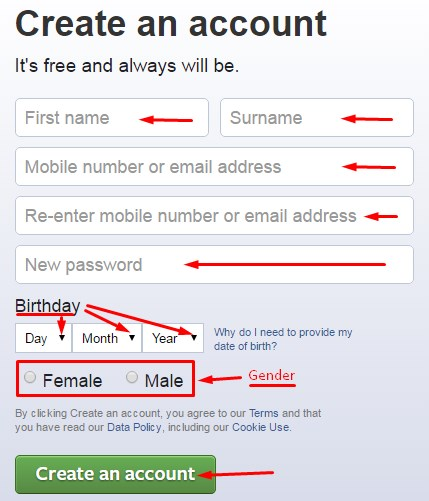 facebook login create new account with mobile number