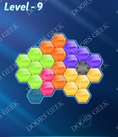 Block! Hexa Puzzle [6 Mania] Level 9 Solution, Cheats, Walkthrough for android, iphone, ipad, ipod