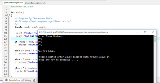 C Program To Find Greater Number. Among Given Three Number