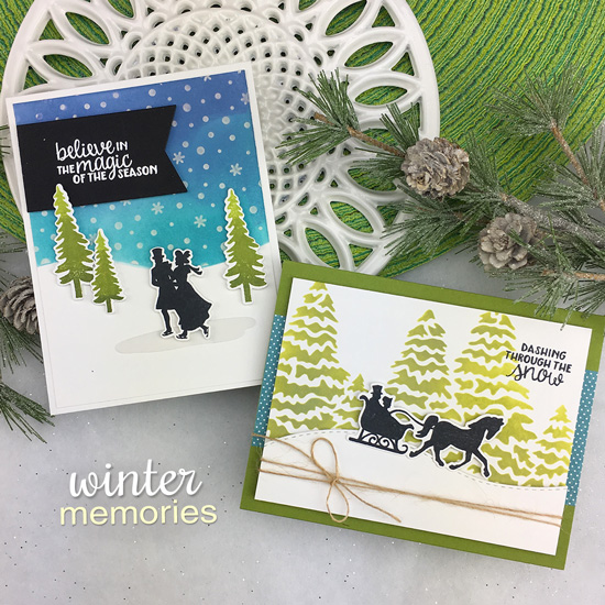 Winter silhouette cards by Jennifer Jackson | Winter Memories Stamp and Evergreens and Petite Snow Stencils by Newton's Nook Designs  #newtonsnook #handmade