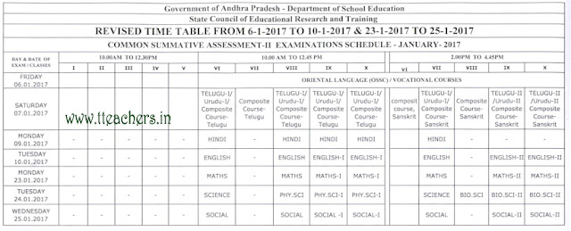 AP SA2 time table  2016-17 ap high school summative assessment exam dates