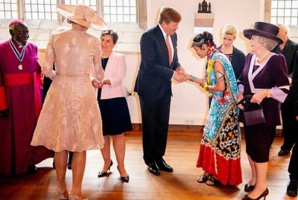 Queen Maxima wore NATAN Dress from Spring Summer 2017. Erol Önderoǧlu, Paride Taban, Emmanuel de Merode, Urmila Chaudhary. Princess Beatrix