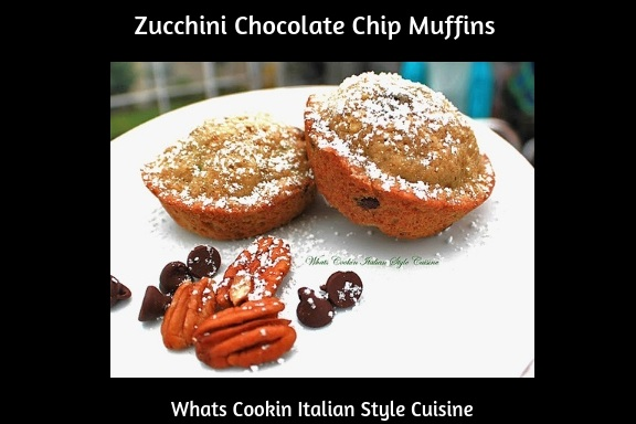 these are muffins made with shredded zucchini with chocolate chips and pecans. They are a dessert muffins or snack with a great crown on top and makes a large of amount to zucchini muffins. These muffins are sweet and the chocolate and cinnamon flavors compliment the zucchini. The instructions on how to make zucchini Chocolate chip muffins is very simple