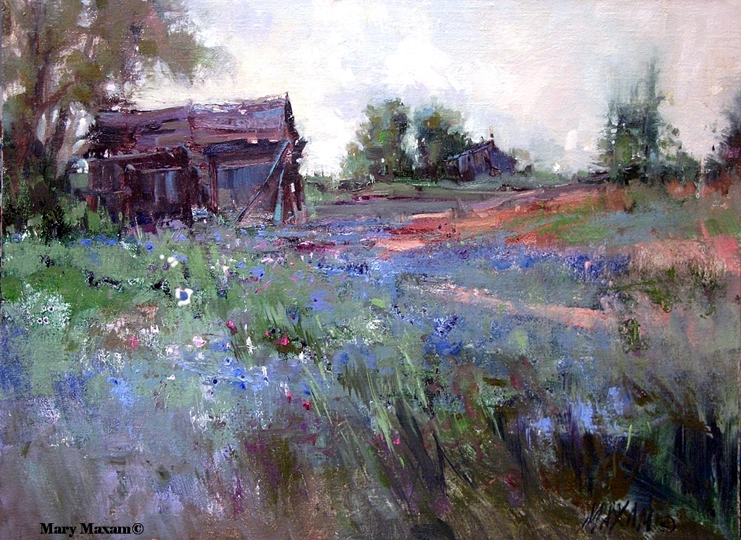 Mary maxam paintings spring fields bachelor buttons for Spring canvas paintings