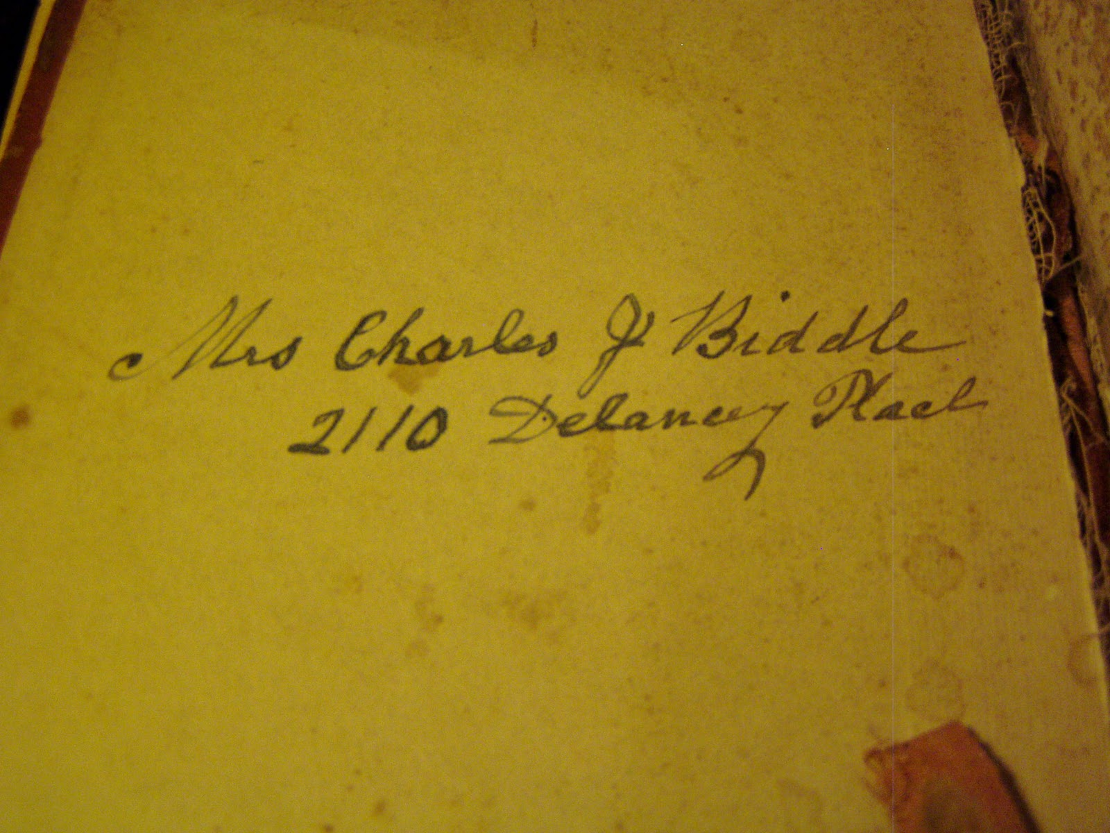 Mrs. Charles J Biddle 2110 Delancey Place. For certain this woman was