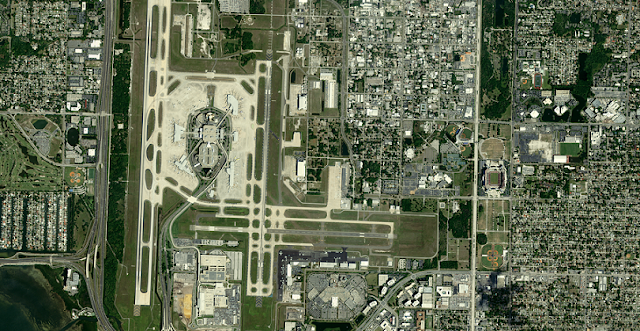 Sub 1 metre resolution image of Tampa International Airport, USA acquired by SSTL S1-4 satellite, 2019. Credit SSTL.