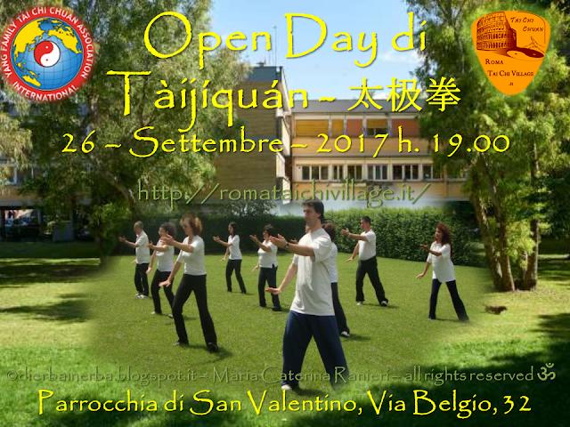 Open Day di Tàijíquán - 太极拳- della Roma Tai Chi Chuan  26 – Settembre – 2017 h. 19.00