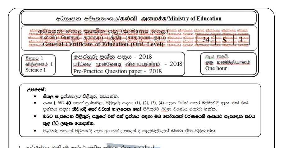 Sinhala Medium Support Seminar Papers 2018 for G C E  O/L By