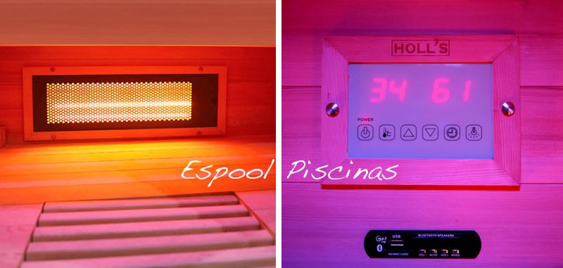 Paneles inferiores del banco y panel de control radio, usb y bluethoot de la sauna Venus de Holl´s - Pregunta en Espool Piscinas