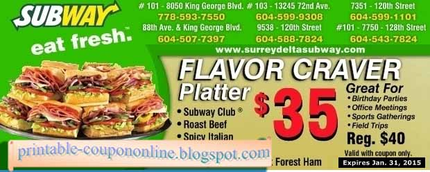 graphic regarding Printable Subway Coupons identified as Subway coupon april 2018 - Sony vaio coupon codes f collection
