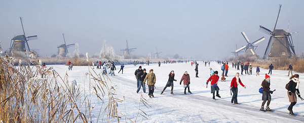 The frozen canals of Kinderdijk