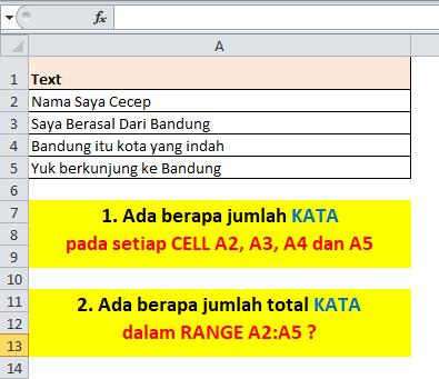 Contoh Soal Rumus Excel Menghitung Jumlah Kata