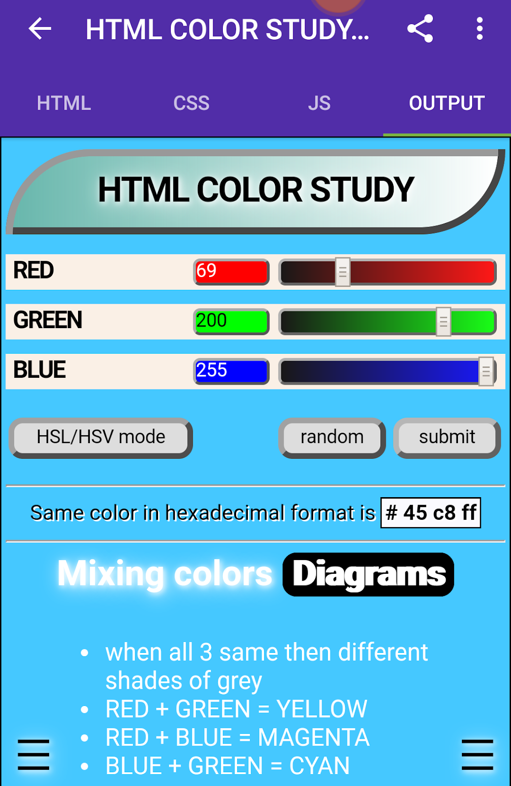 HTML Color Study