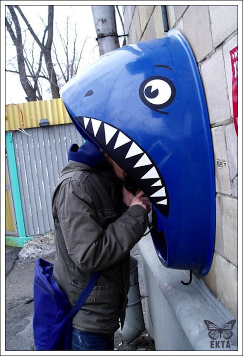 Russian shark phone booth