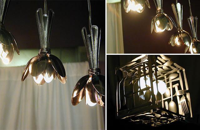 โคมไฟประดิษฐ์จากช้อนเงิน